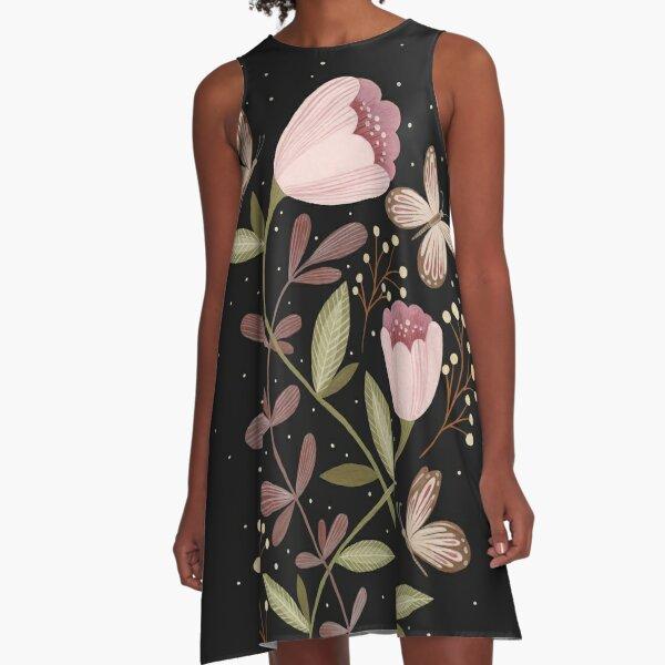 Flowers and butterflies A-Line Dress