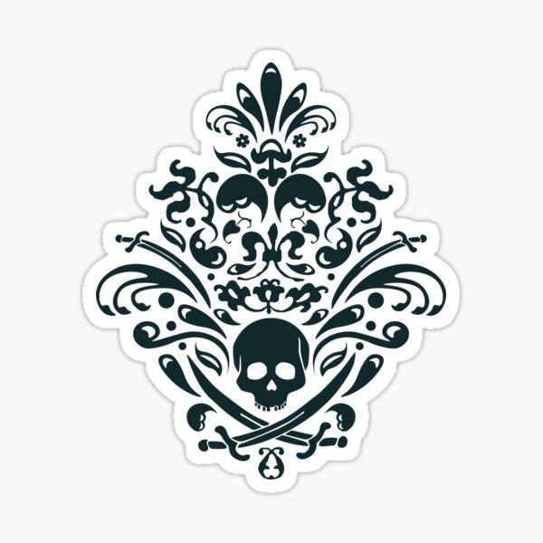 Pirate Damask Ornamental Floral Pattern White Sticker