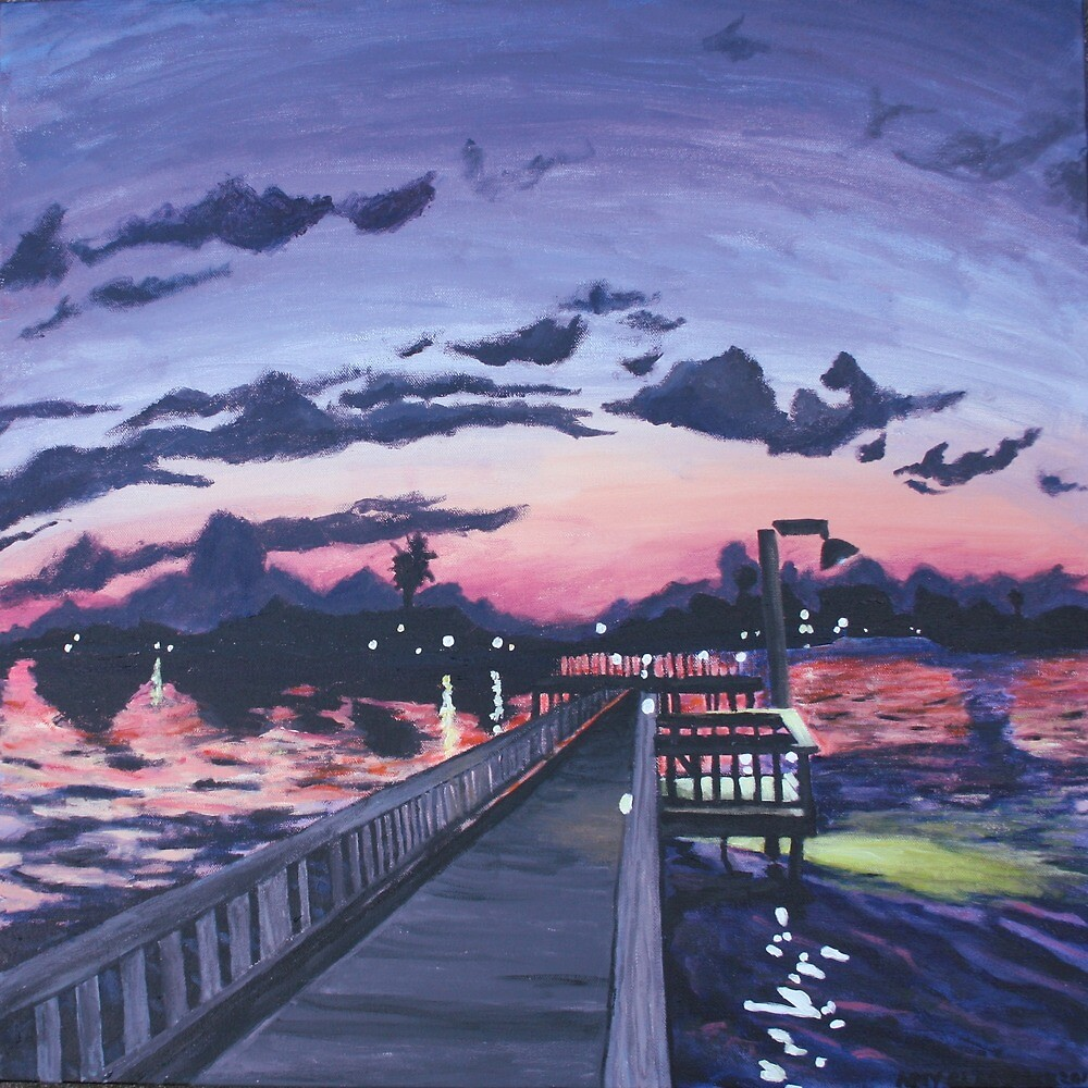 """(130) """"Night Fishing in Little Bay. (Rockport, TX) .""""  Acrylic on Canvas. 1/2017-5/2017. by amyglasscockart"""