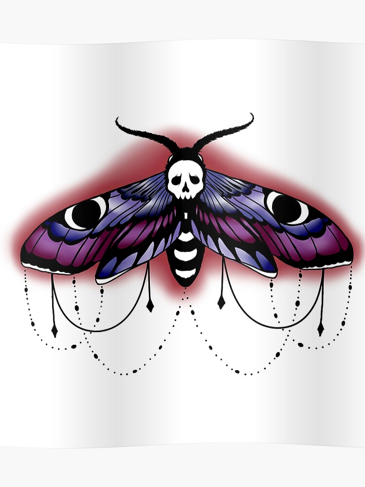 Neo Traditional Tattoo Style Moth Poster By Sugarthorns Redbubble