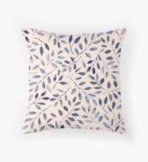 Blue grey watercolour leaves pattern Throw Pillow