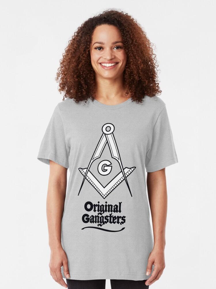 Alternate view of OG - Original Gangsters - Masonic Square & Compass Slim Fit T-Shirt