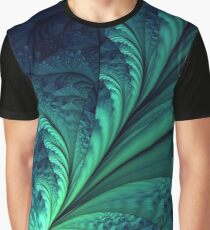 Blue Green Feathes Graphic T-Shirt