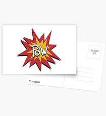 Retro POW Comic Badge Postcards