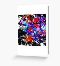 psychedelic splash painting abstract texture blue red pink black Greeting Card