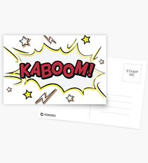 Retro KABOOM Comic Badge Postcards