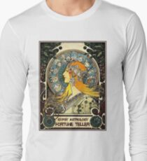 GYPSY ASTROLOGY;Vintage Fortune Teller Print Long Sleeve T-Shirt