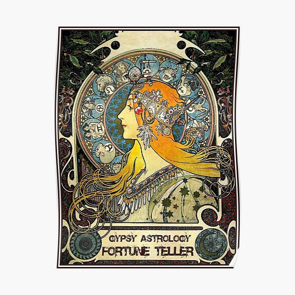 GYPSY ASTROLOGY;Vintage Fortune Teller Print Poster