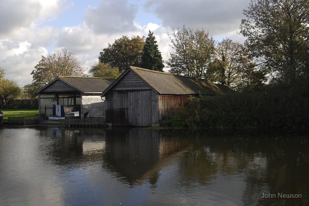 Boat Sheds on River Cam by John Newson