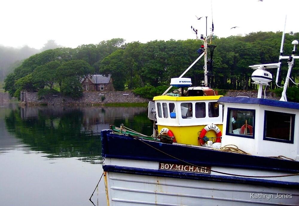 Boat at Anchor - Stornoway Marina by Kathryn Jones
