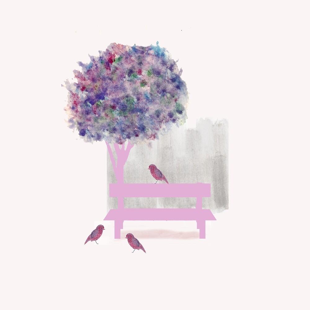 A bench in a city park by Anna Lemos