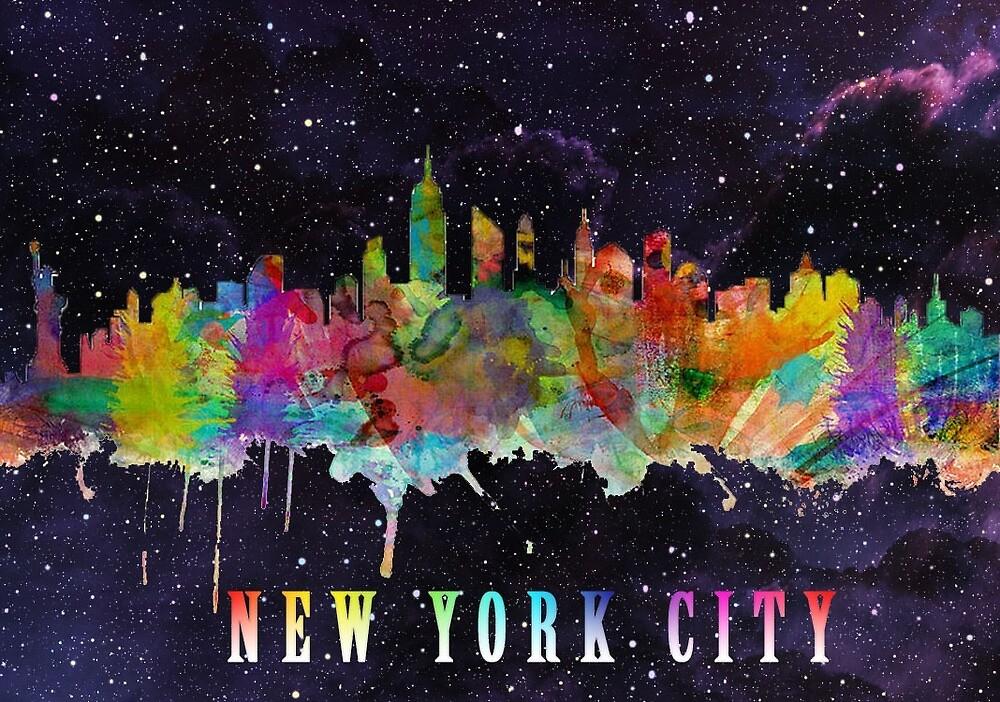 New York City Skyline Galaxy Sticker by sasi1323