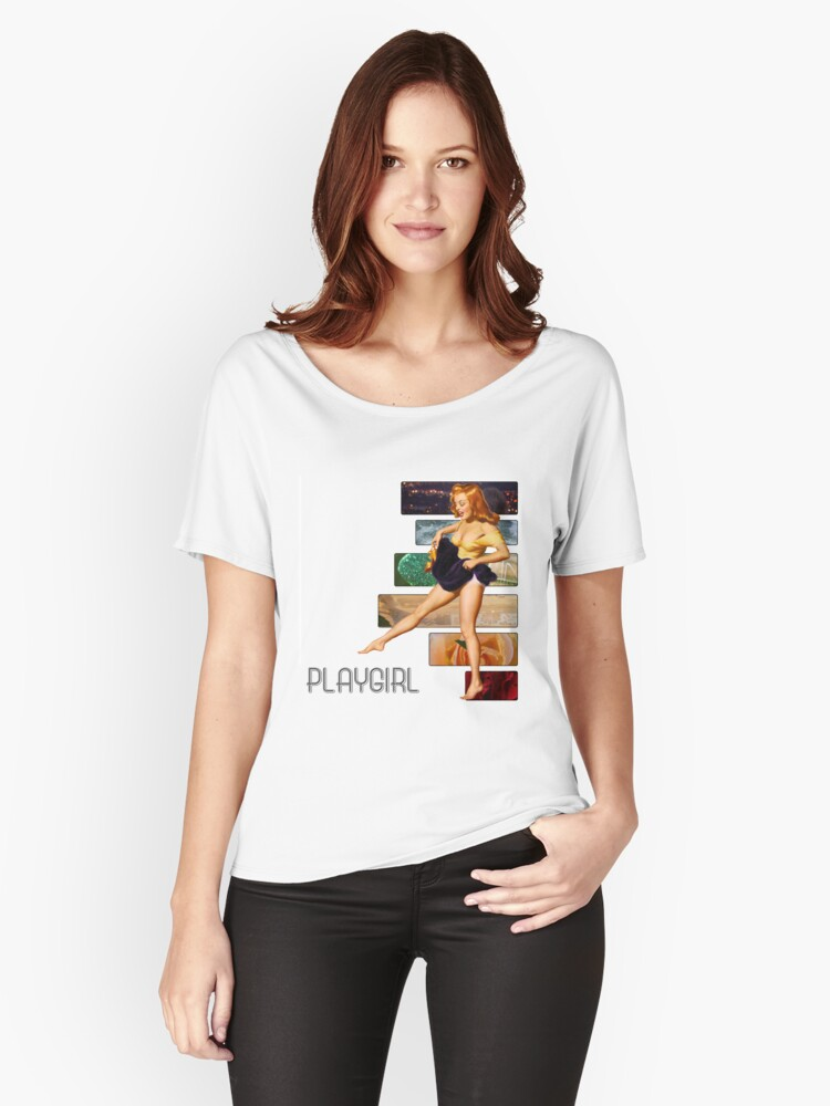 playgirl pin up p.9 (semi closet safe) Women's Relaxed Fit T-Shirt Front