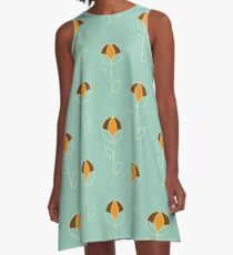 Graphic Spherical Flower in Retro Colours A-Line Dress