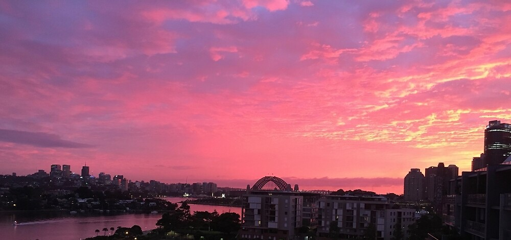 Harbour Bridge w/ sunset by PennyLilley