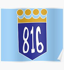 816 Area Code Kansas City Royals Poster