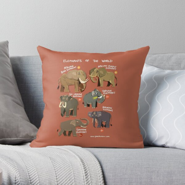 Elephants of the World Throw Pillow