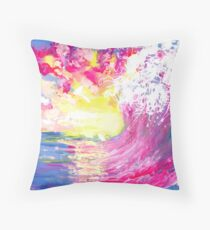 Wave on a Sunset Throw Pillow
