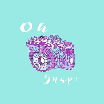 Oh Snap!  Retro Pop Art 35 mm Camera Graphic Turqoise and Purple by Suzeology