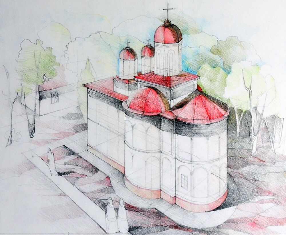 Perspective drawing illustration of a Christian church by oanaunciuleanu