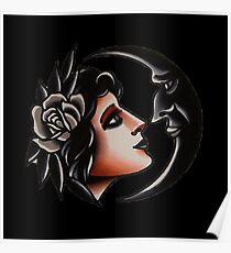 Crescent Girl flash tattoo Poster