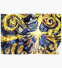 Exploding TARDIS Painting by Van Gogh Poster