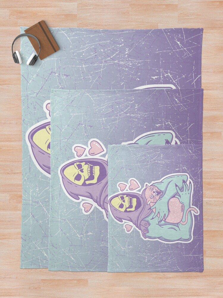 Alternate view of Skeletor's Cat Throw Blanket