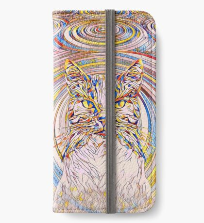 Abstract Cat iPhone Wallet