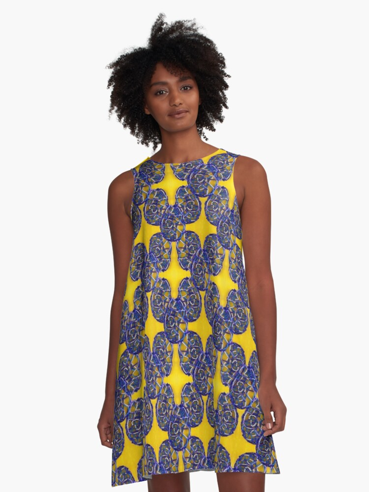 Bright Blue And Yellow Beaded Pattern A-Line Dress Front