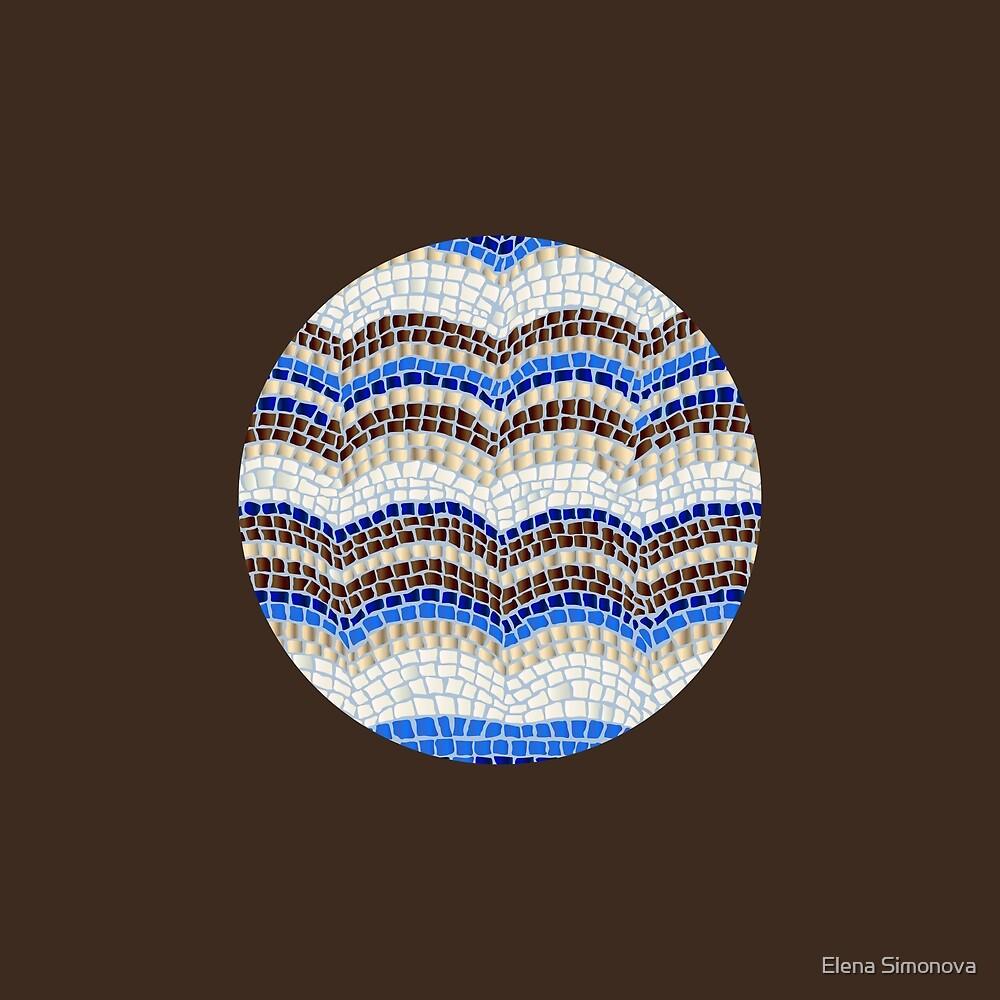 Round Blue Mosaic on Dark Brown by Elena Simonova