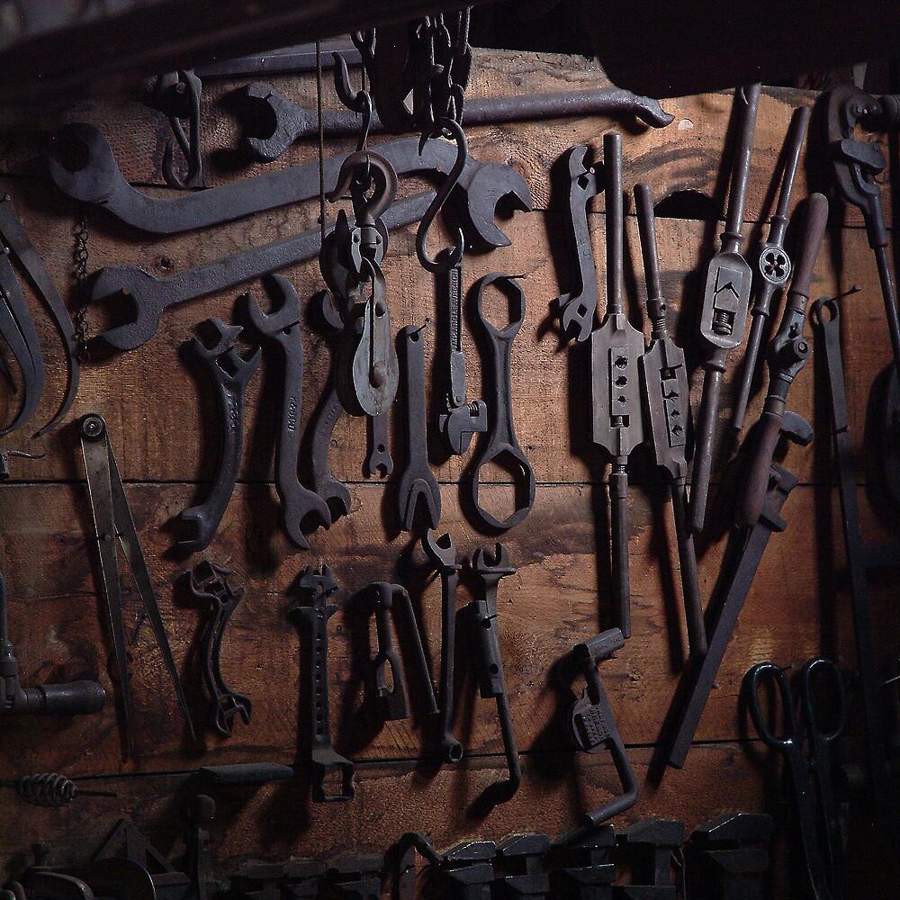 Blacksmiths back wall. by Bob Miller