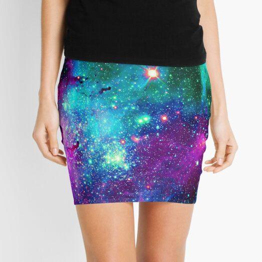 Purple teal nebula  Mini Skirt