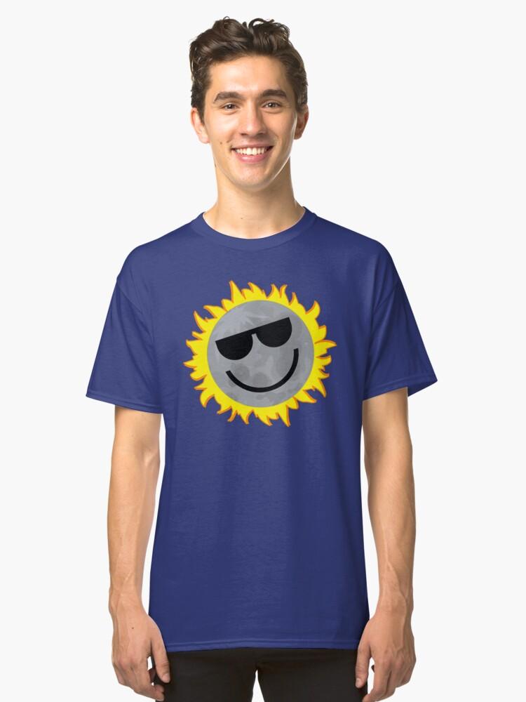 Happy Moon Eclipsing Sun Classic T-Shirt Front