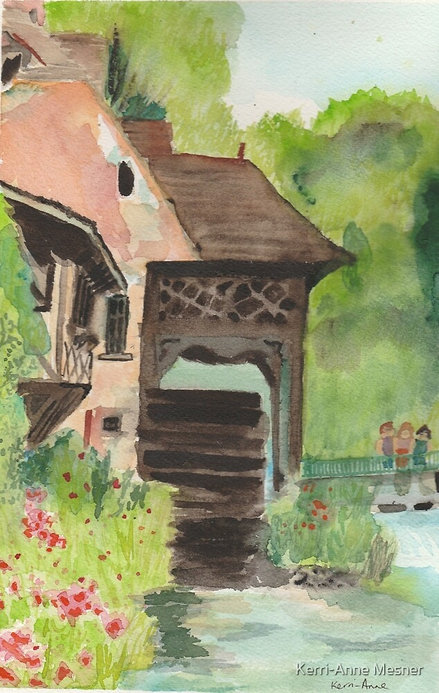 French tavern with water wheel  by Kerri-Anne Mesner