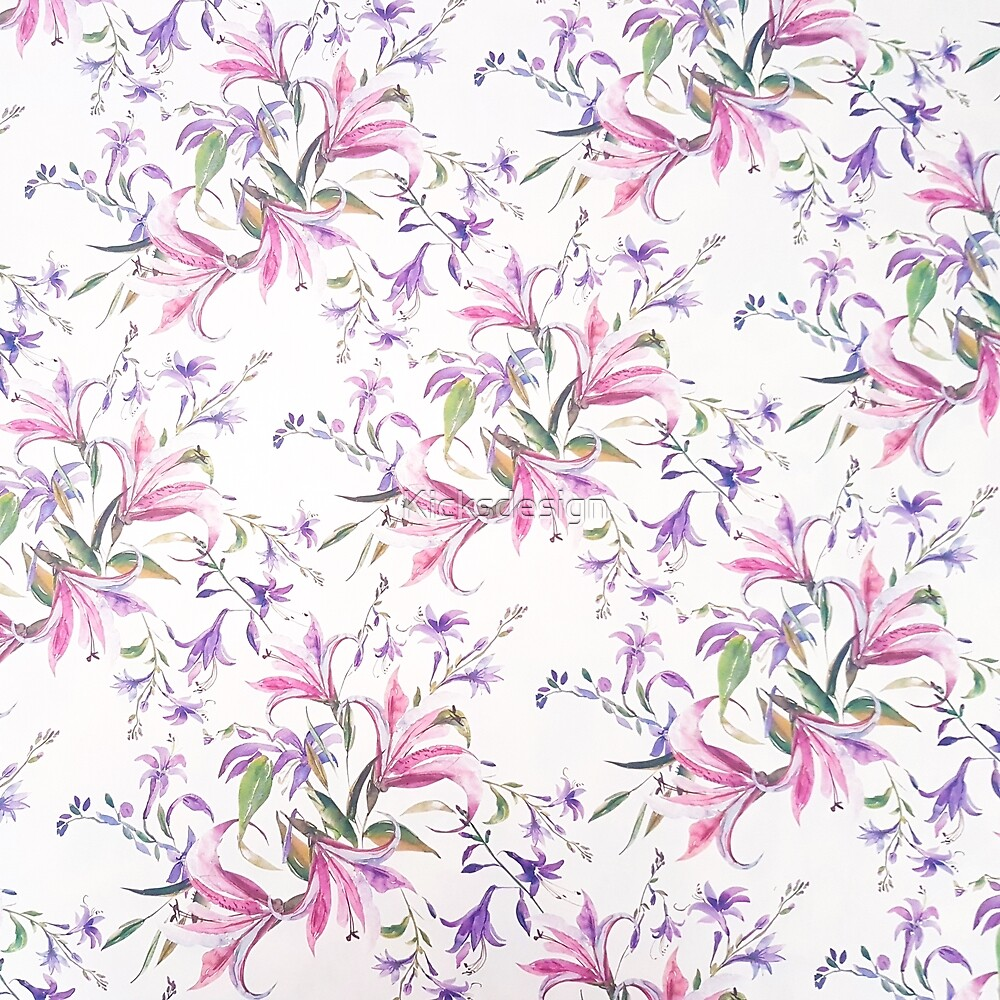 Modern fuchsia lilac watercolor hand painted floral by Maria Fernandes