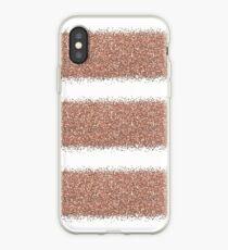 Rose gold glitter stripes iPhone Case