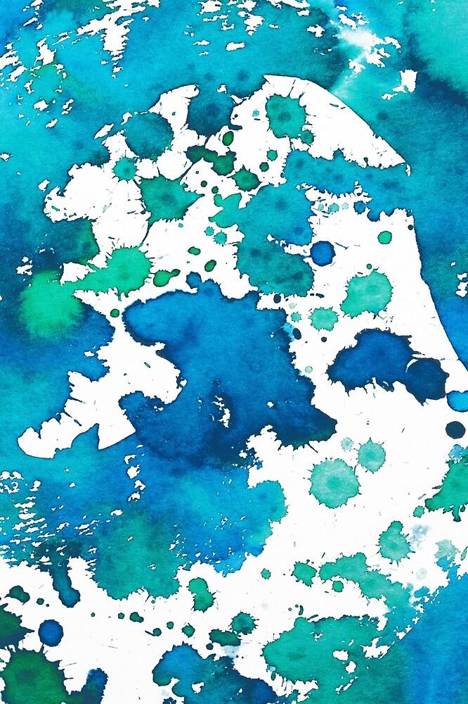 Watercolour Splash Blue by colorandpattern