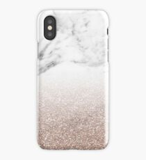 Rose gold glitter on marble iPhone Case/Skin