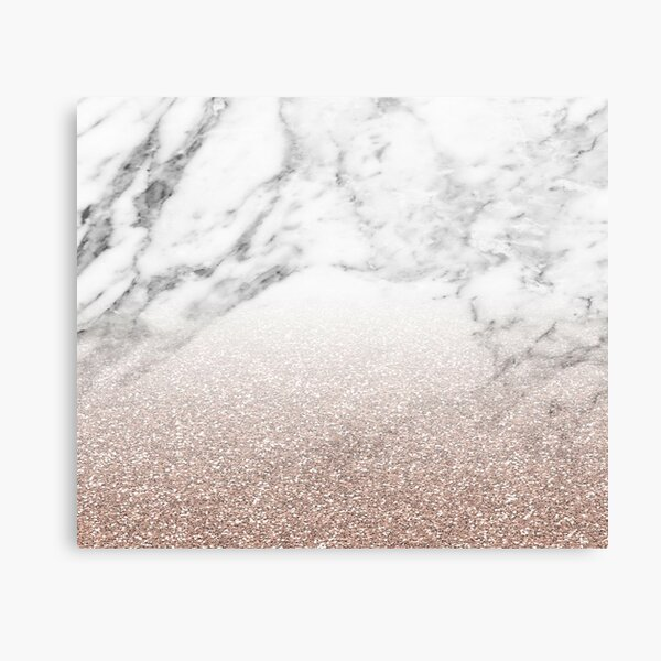 Rose gold glitter on marble Canvas Print