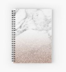 Rose gold glitter on marble Spiral Notebook