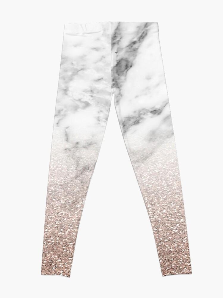 Alternative Ansicht von Rose Gold Glitter auf Marmor Leggings