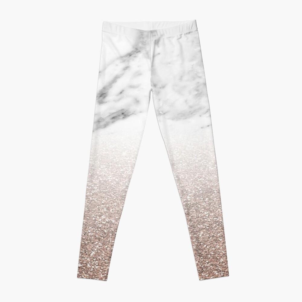 Rose Gold Glitter auf Marmor Leggings