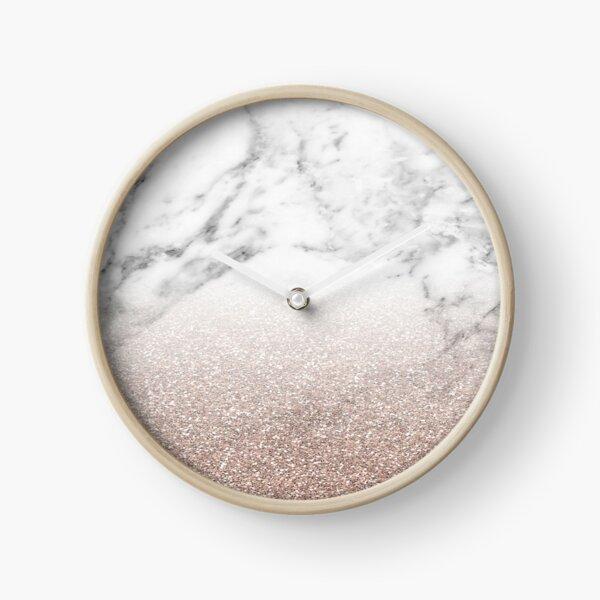 Rose gold glitter on marble Clock