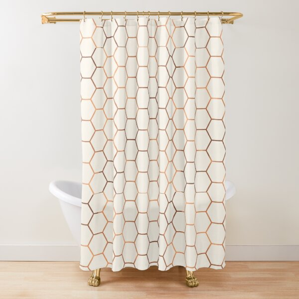 Rose gold copper honeycomb Shower Curtain