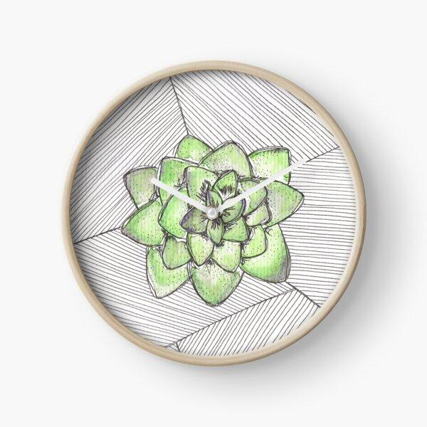 Watercolour Succulent Clock