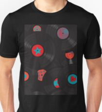 Vinyl records disc collection. Seamless pattern. Unisex T-Shirt