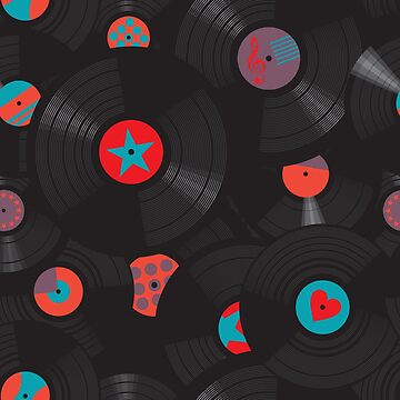 Vinyl records disc collection. Seamless pattern. by Kazanskiy