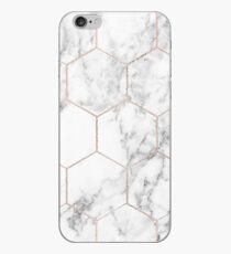 Rose gold and marble honeycomb iPhone Case