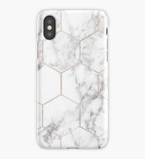 Rose gold and marble honeycomb iPhone Case/Skin