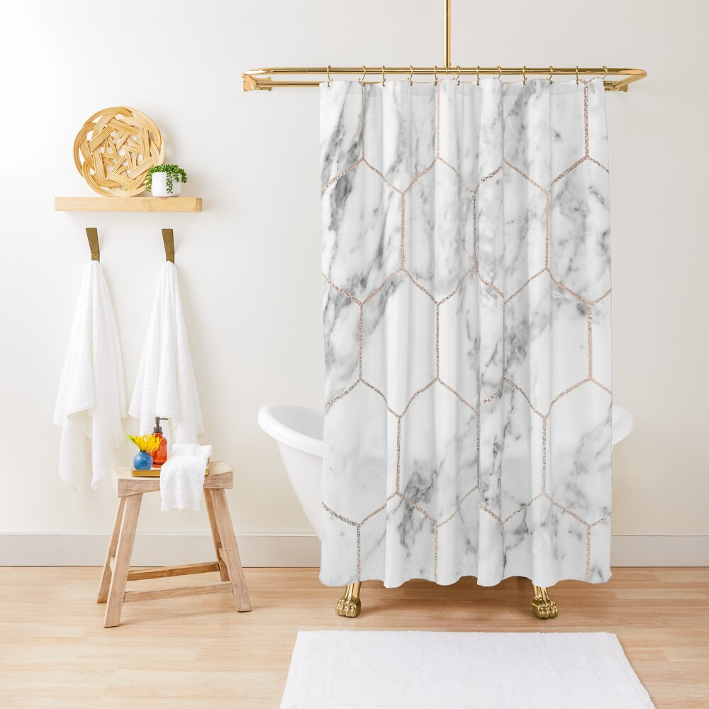 Rose gold and marble honeycomb Shower Curtain